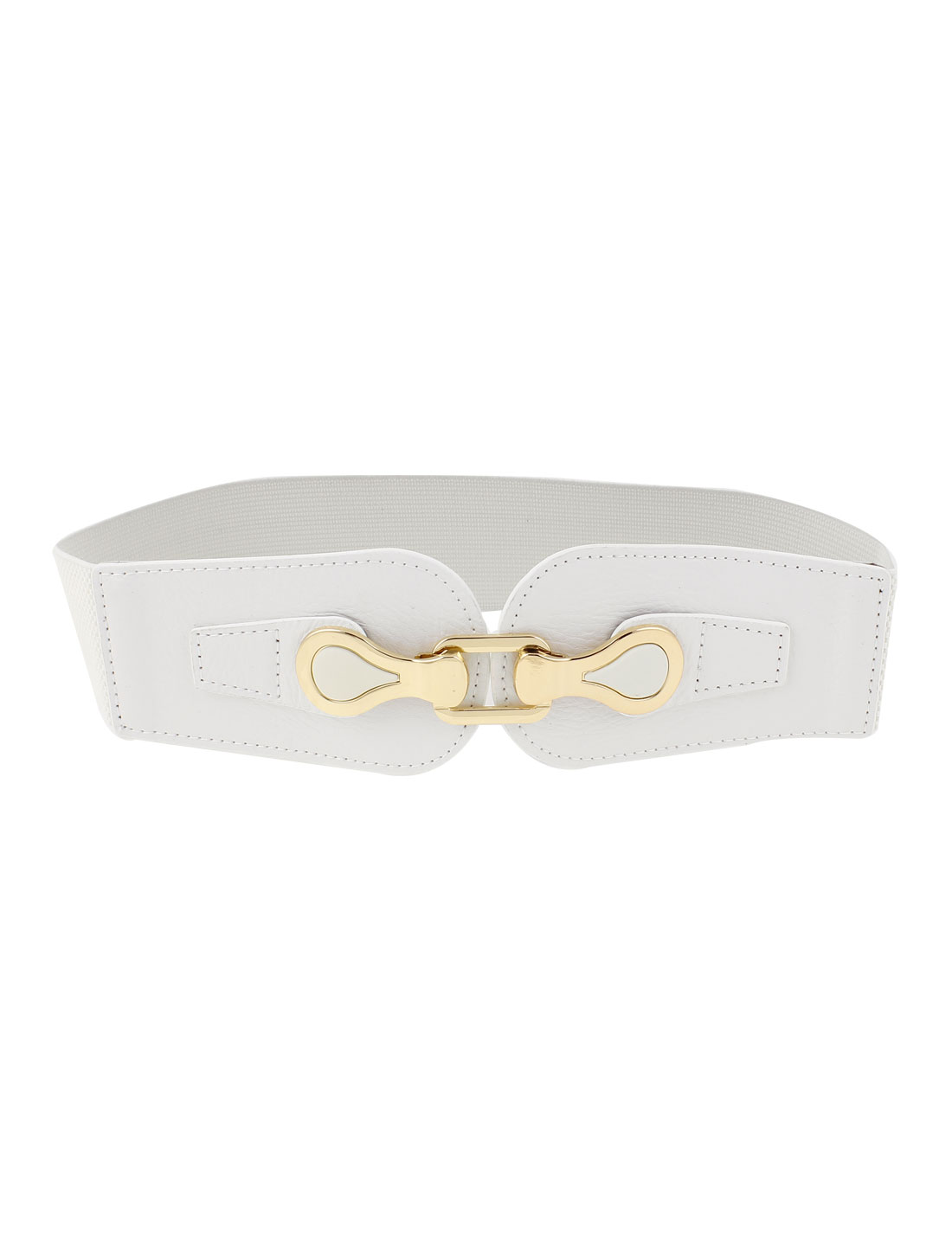 Lady Gold Tone Metal Interlocking Buckle Elastic Cinch Waist Belt White