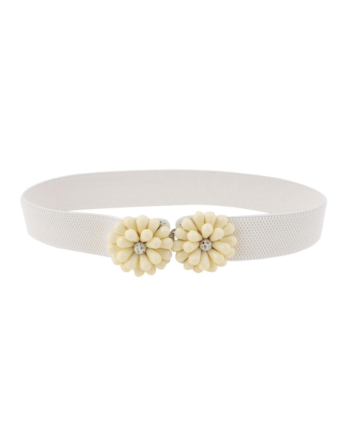 Flower Shape Interlocking Buckle Elastic Waist Belt White for Women