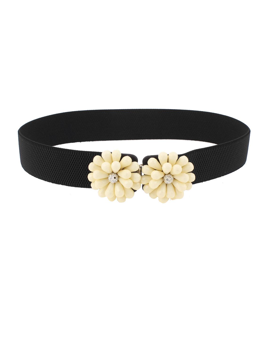 Flower Shape Interlocking Buckle Elastic Waist Belt Black for Women