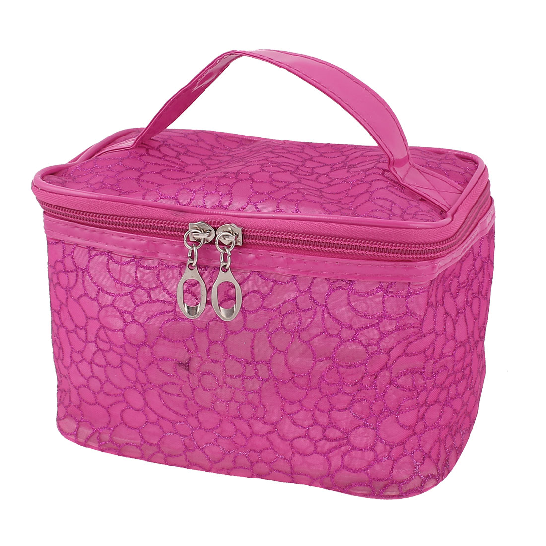 Lady Water Resistant Zipper Closure Makeup Cosmetic Bag Handbag Organizer Fuchsia