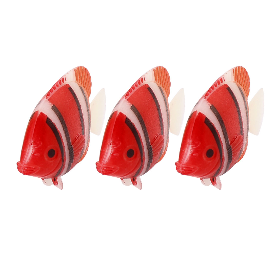3Pcs Red Aquarium Plastic Floating Swing Tail Tropical Fish Ornament