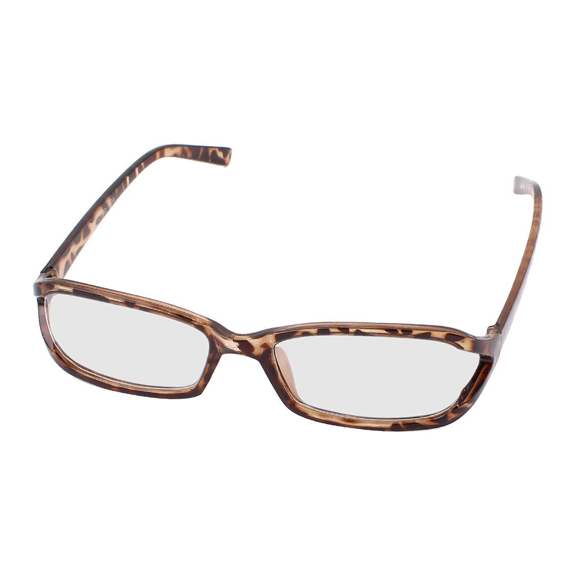 Leopard Pattern Arms Full Rim Single Bridge Clear Lens Plain Glasses Plano Spectacle