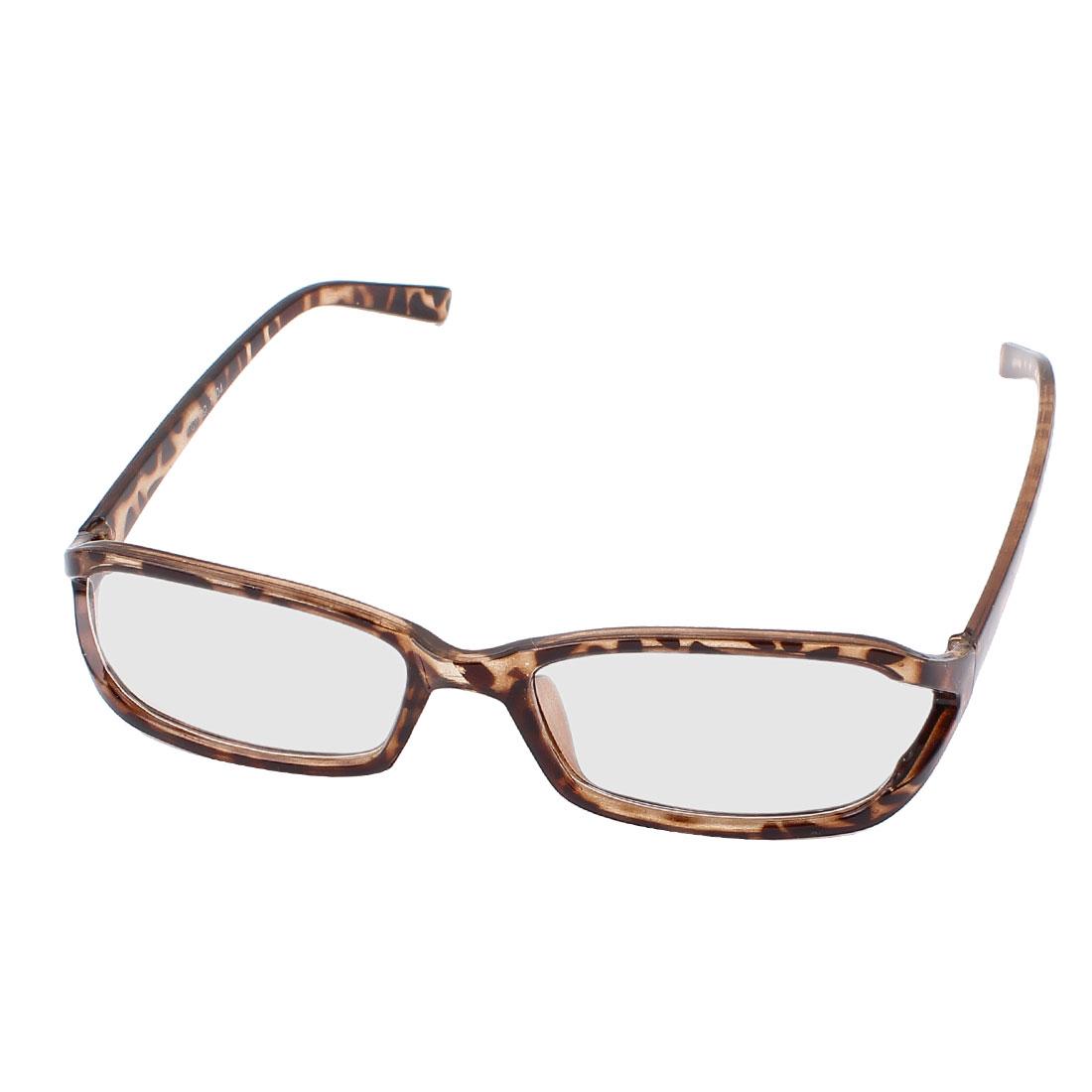 Leopard Pattern Arms Full Rim Single Bridge Clear Lens Plain Glasses Plano Spectacle