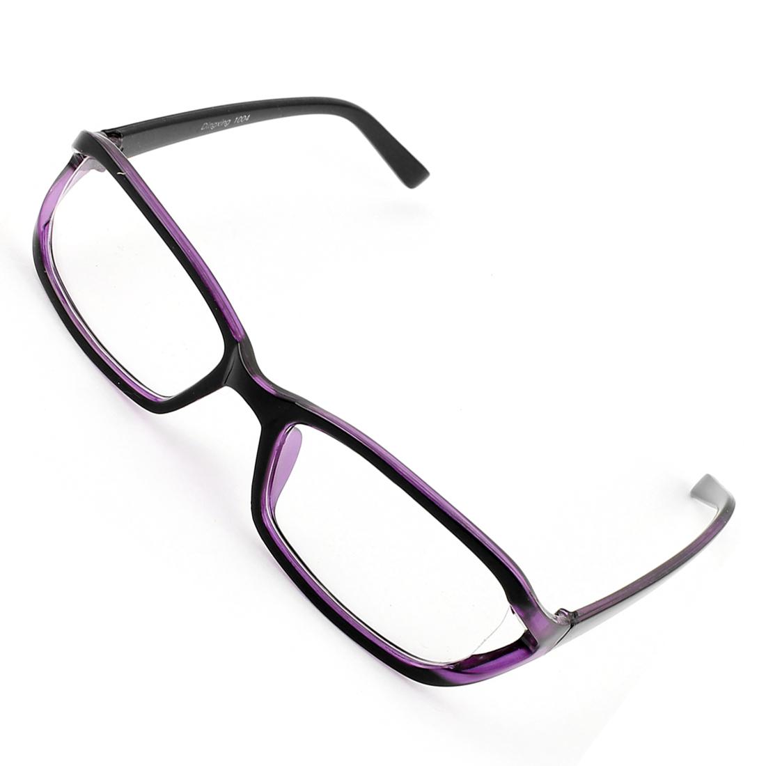 Black Purple Plastic Arms Full Rim Single Bridge Clear Lens Plain Glasses Plano Spectacle