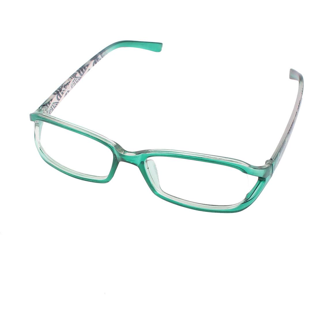 Green Plastic Arms Full Rim Single Bridge Clear Lens Plain Glasses Plano Spectacle