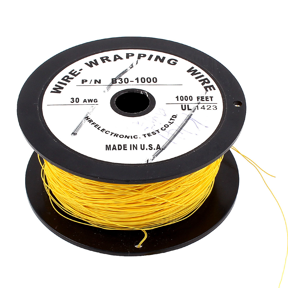 90M 295Ft Long 0.25mm Soft PVDF Wire-Wrapping Wire 30AWG Cable Roll Yellow 200C
