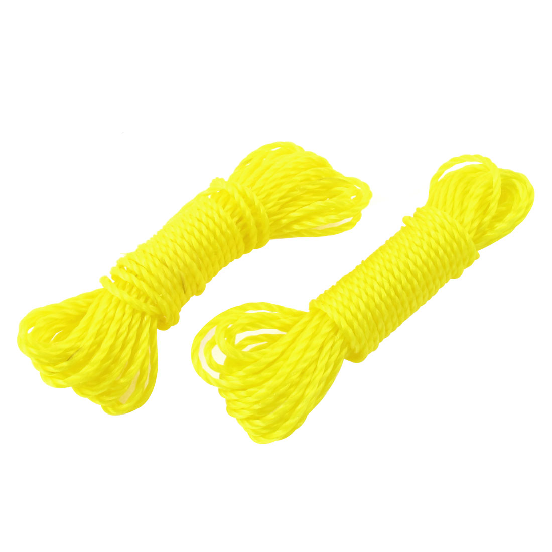 2pcs Nylon Cord String Clothes Dry Hanging Rope Clothesline Yellow 10M Length