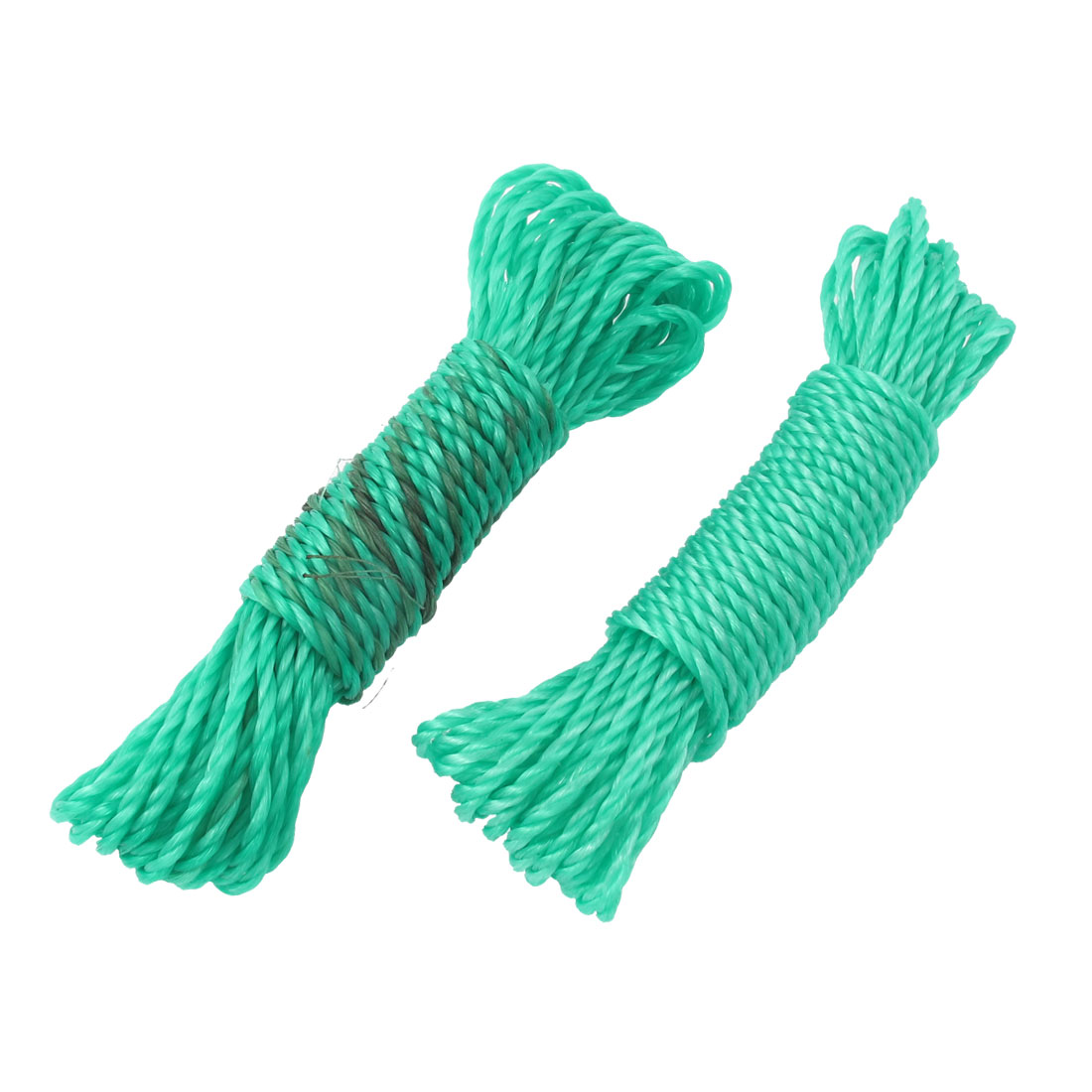 2pcs Nylon String Washing Clothes Dry Hanging Rope Clothesline Teal 10M Length