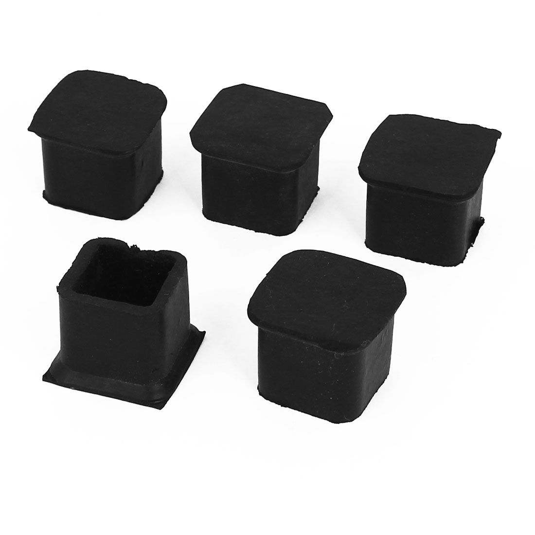20mm x 20mm Square Rubber Furniture Machine Foot Cover Holder Protector 6 Pcs