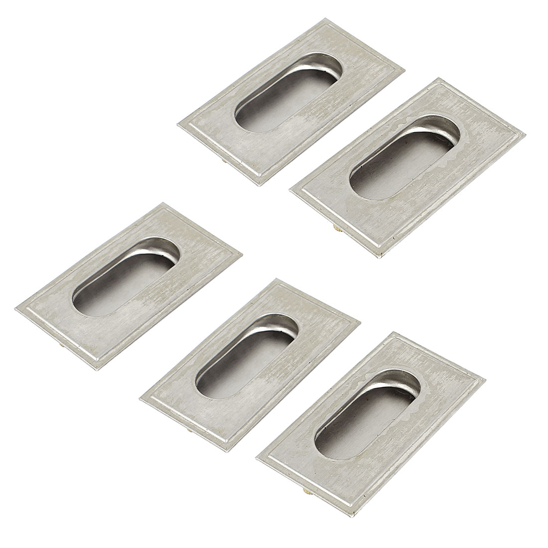 Door Drawer 80mm x 42mm Rectangle Recessed Flush Sliding Pull Handle 5 Pcs