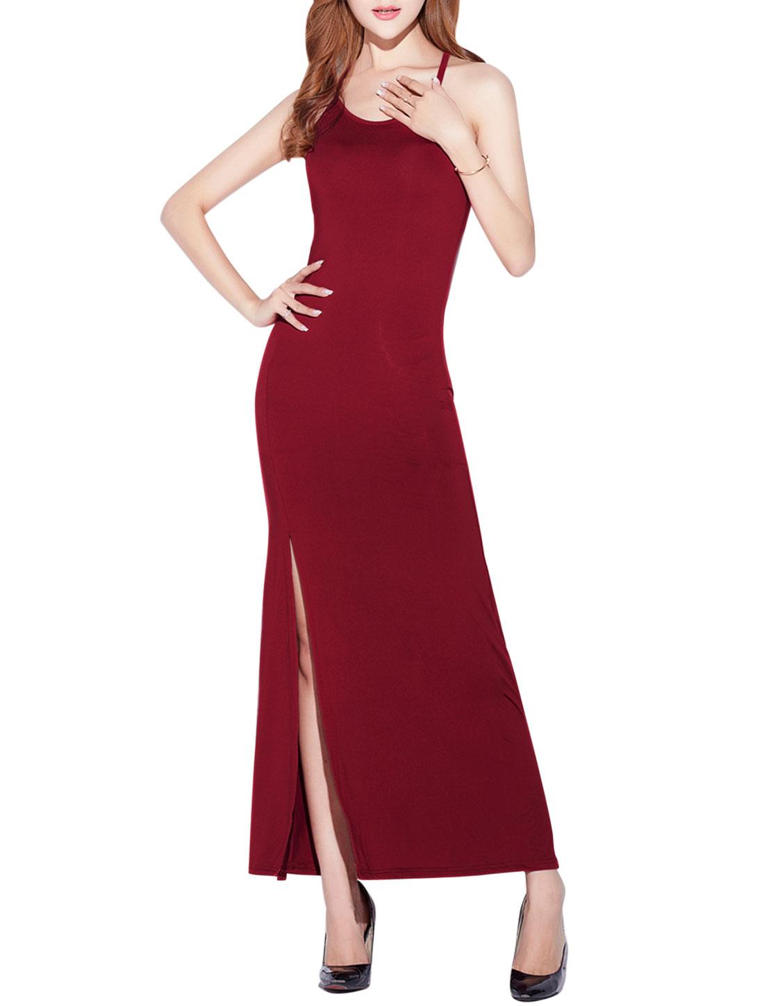 Ladies Round Neck Sleeveless Split Front Long Dresses Burgundy M
