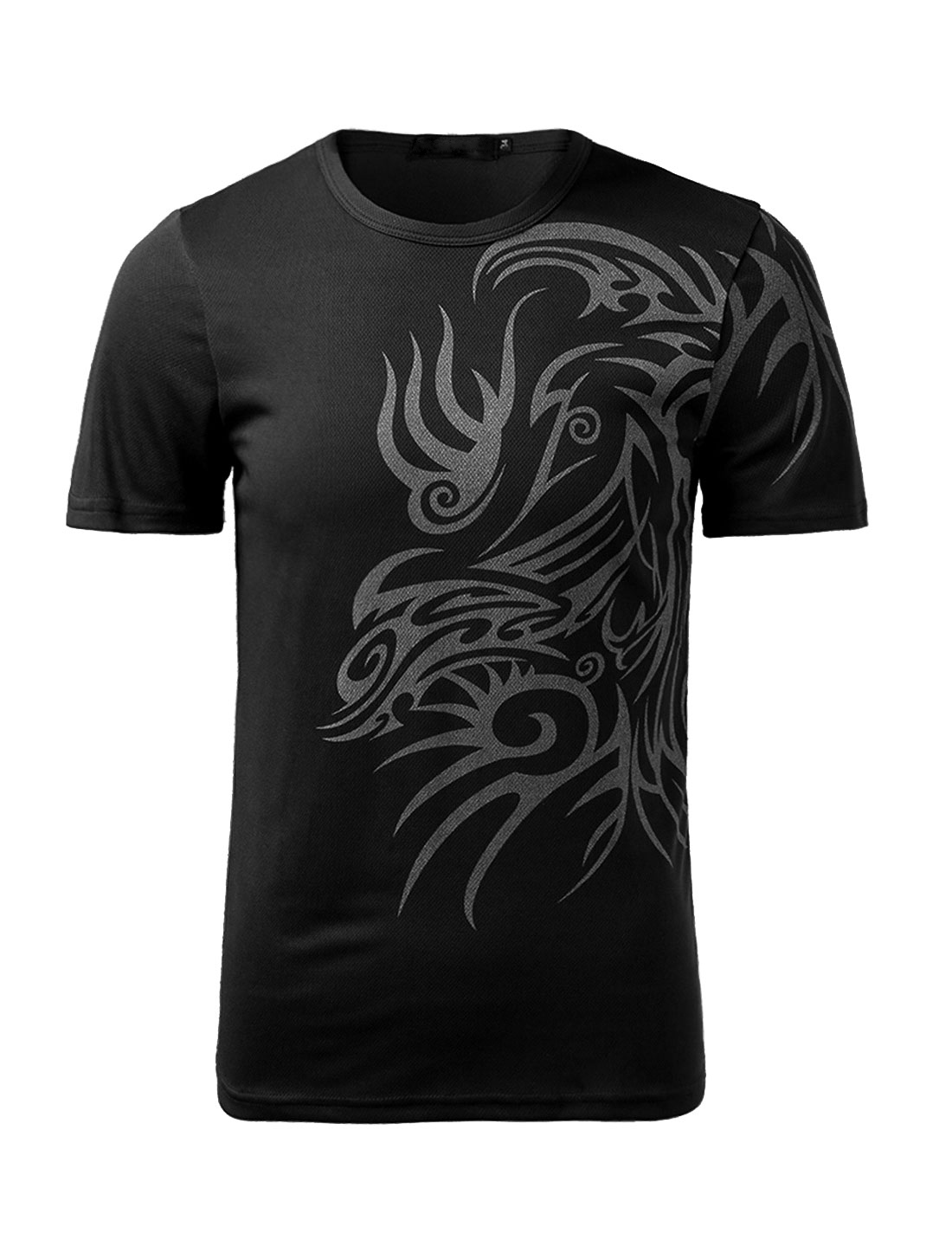 Men Round Neck Short Sleeve Slim Fit Tribal Print Casual T Shirt Black S
