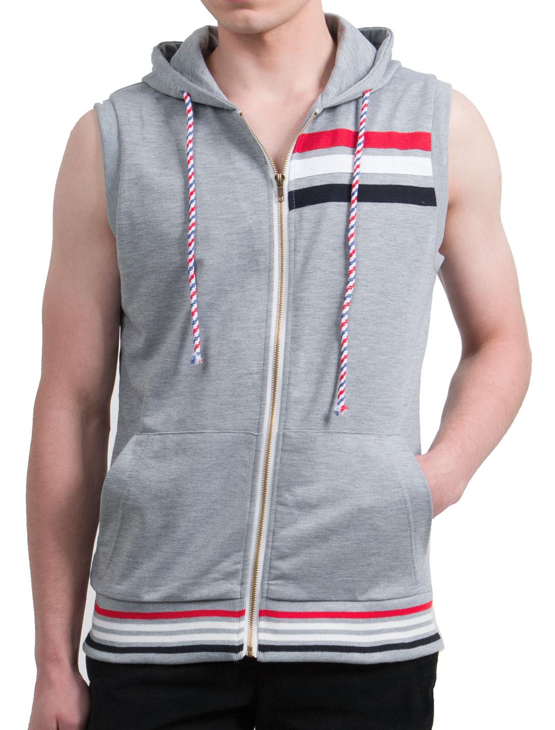 Men Front Zip Contrast Stripe Kangaroo Pockets Drawstring Hoodie Vest Light Gray M