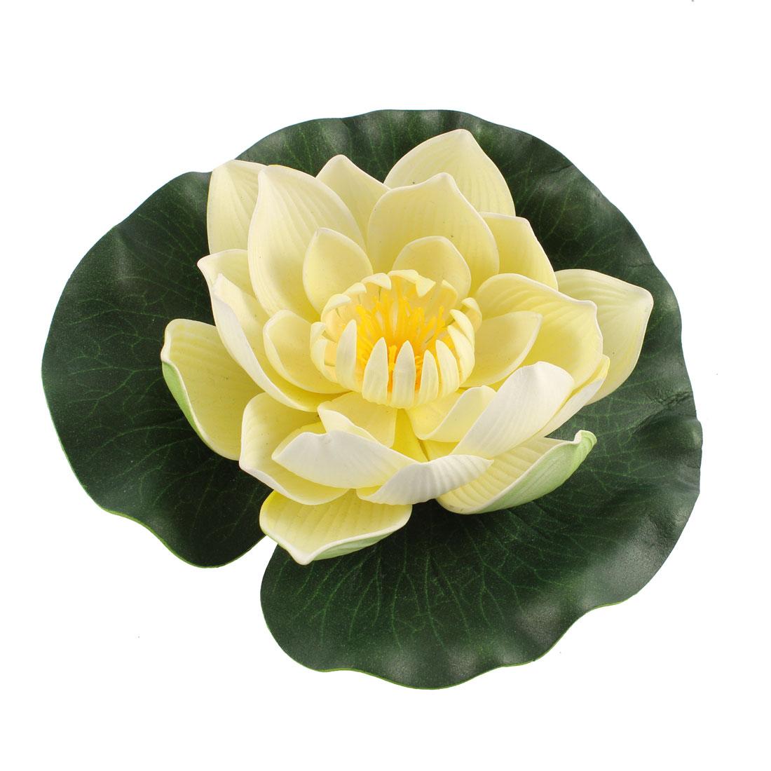 Aquarium Simulation Foam Lotus Flower Aquatic Floating Plant Decor Beige Green