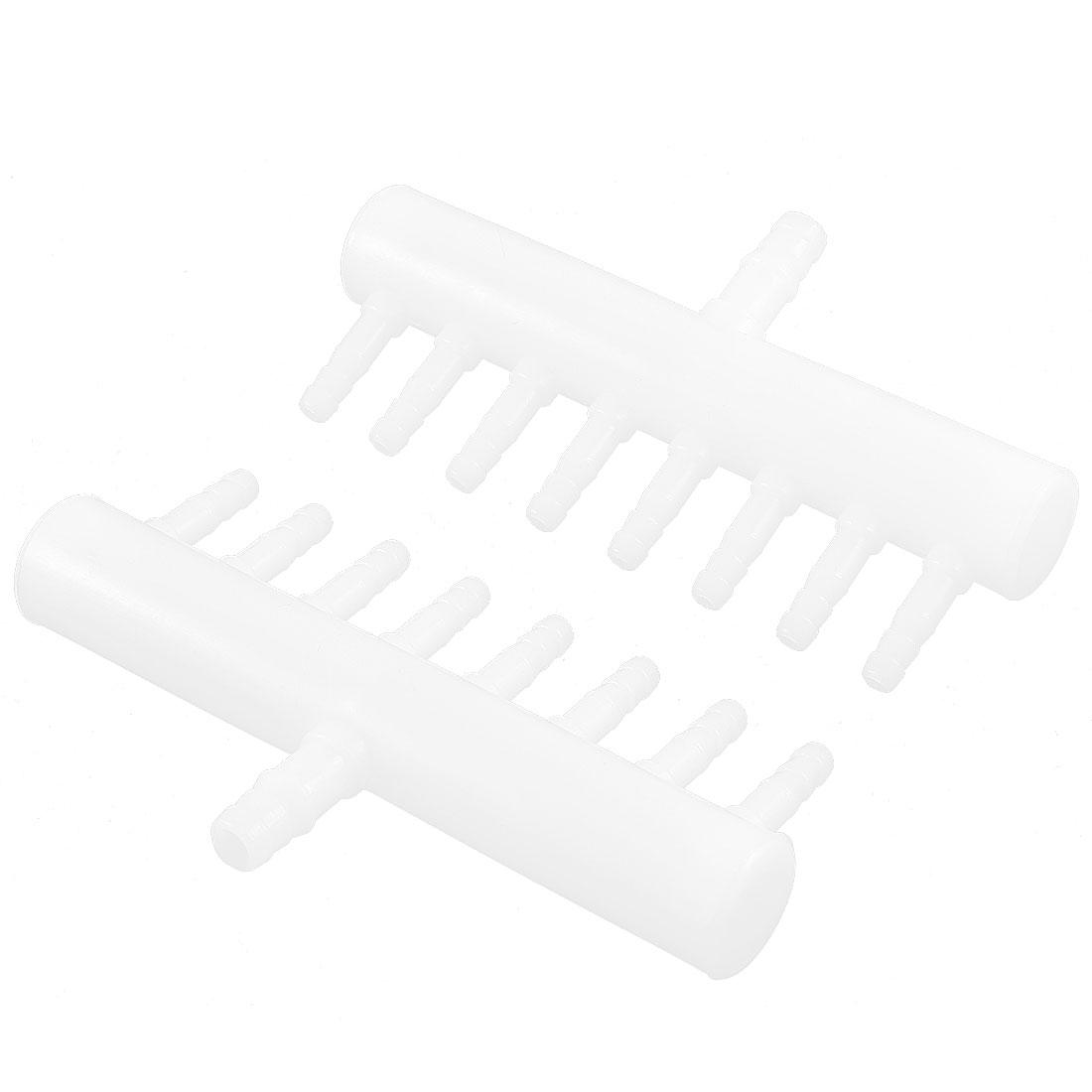 White Plastic Aquarium 8 Way Air Flow Control Oxygen Splitter Lever Valve 2 Pcs