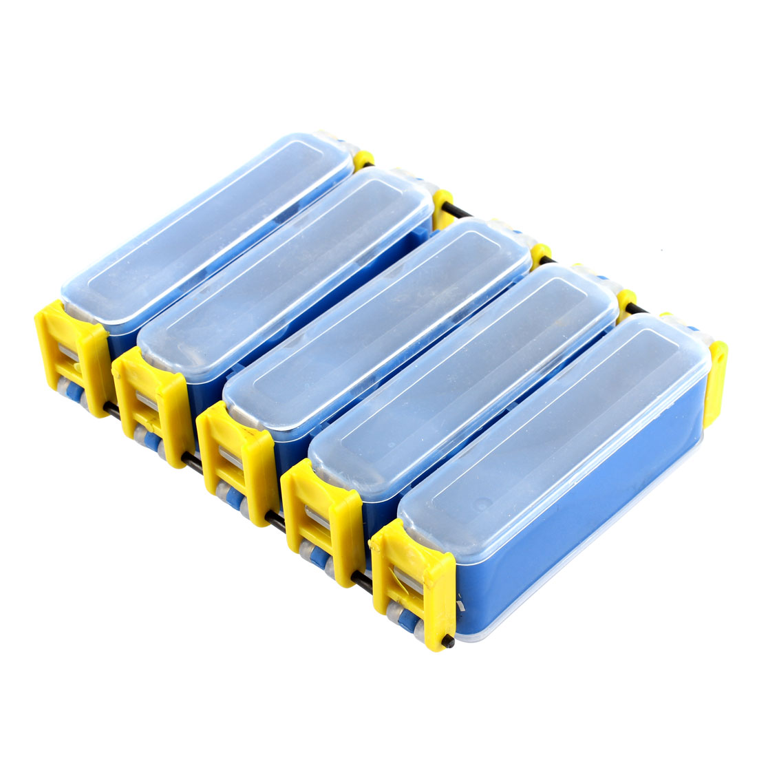 Clear Blue Yellow Plastic 10Component Dual Sides Fish Hook Box Fishing Lure Case