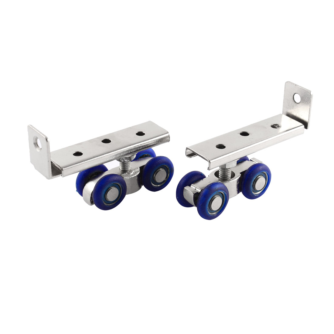 2pcs 19mm Wheels Dia Shower Door Rollers Runners Pulley Silver Tone Blue