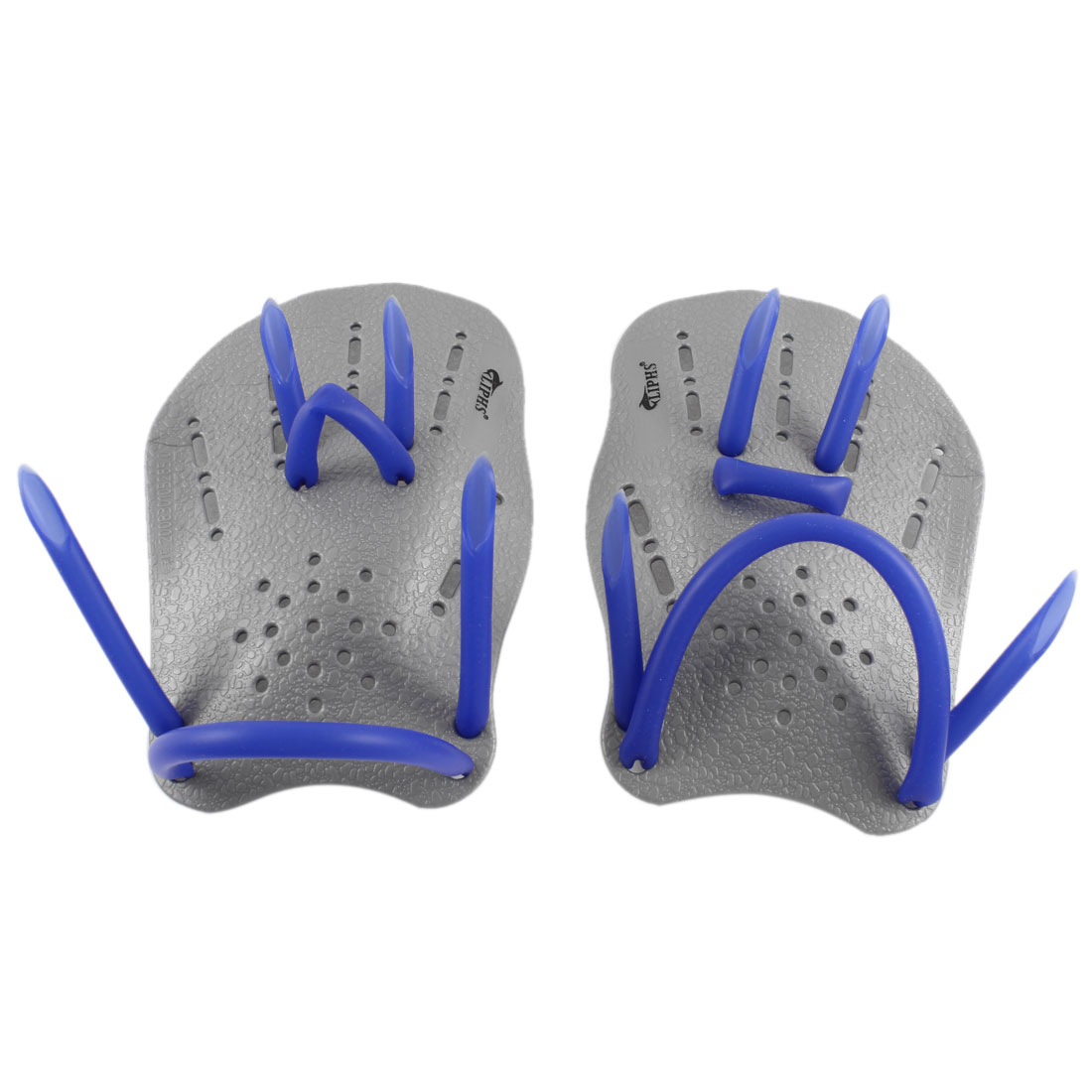 Swimming Training Rubber Webbed Hand Gloves Paddles Gray Pair w Adjustable Strap