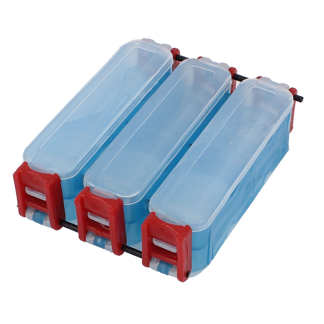 Clear Blue Red Plastic 6 Component Double Sides Fish Hook Box Fishing Lure Case