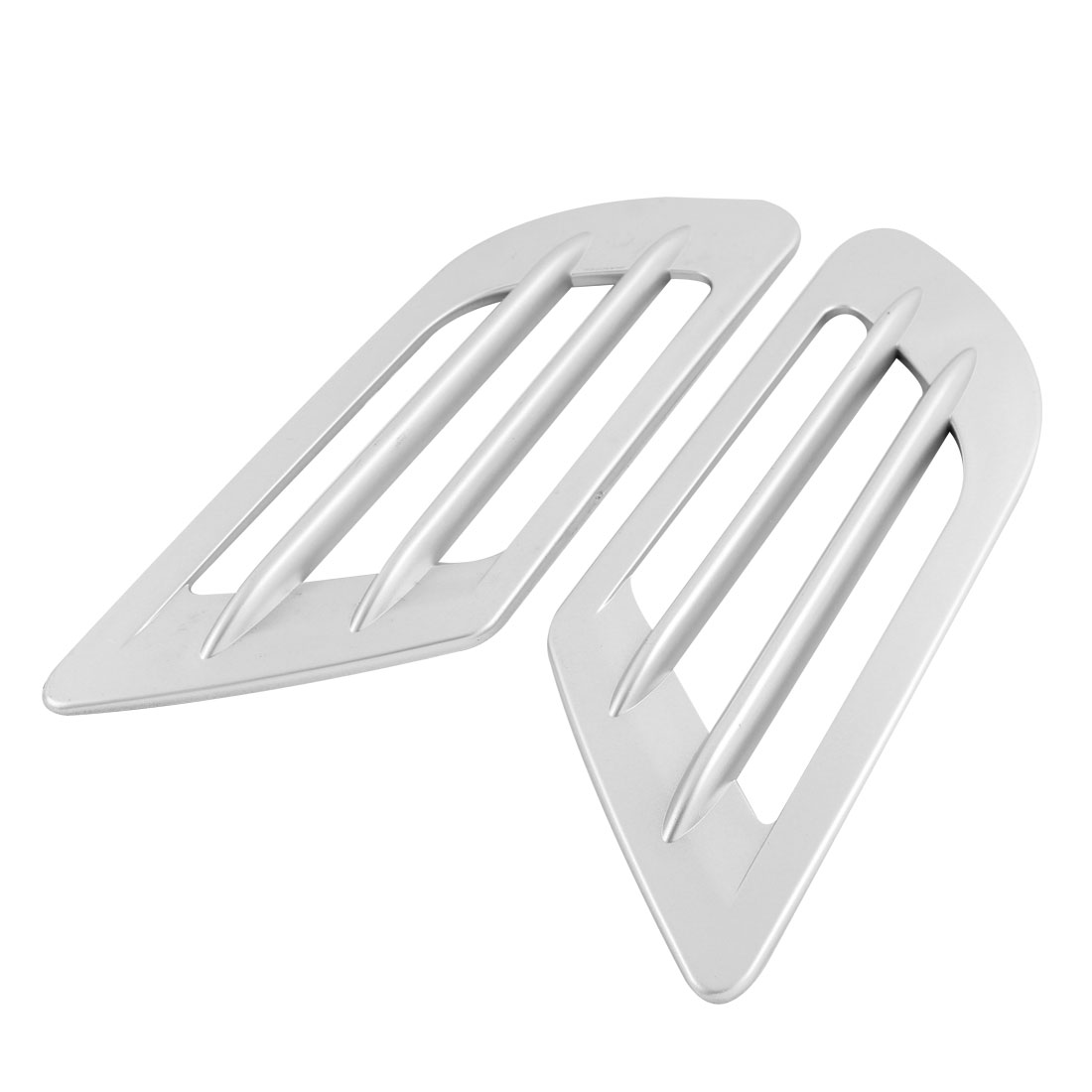 2pcs Universal Car Plastic Decor Bonnet Air Flow Intake Sticker Silver Tone
