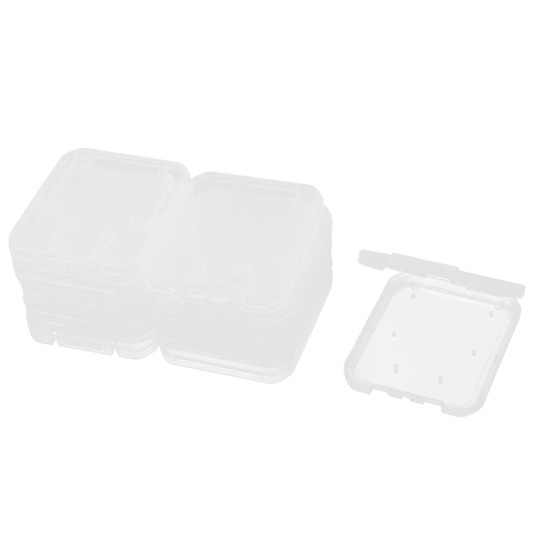SD MS Micro TF Memory Card Clear White Plastic Storage Box Protective Case Holder 11pcs
