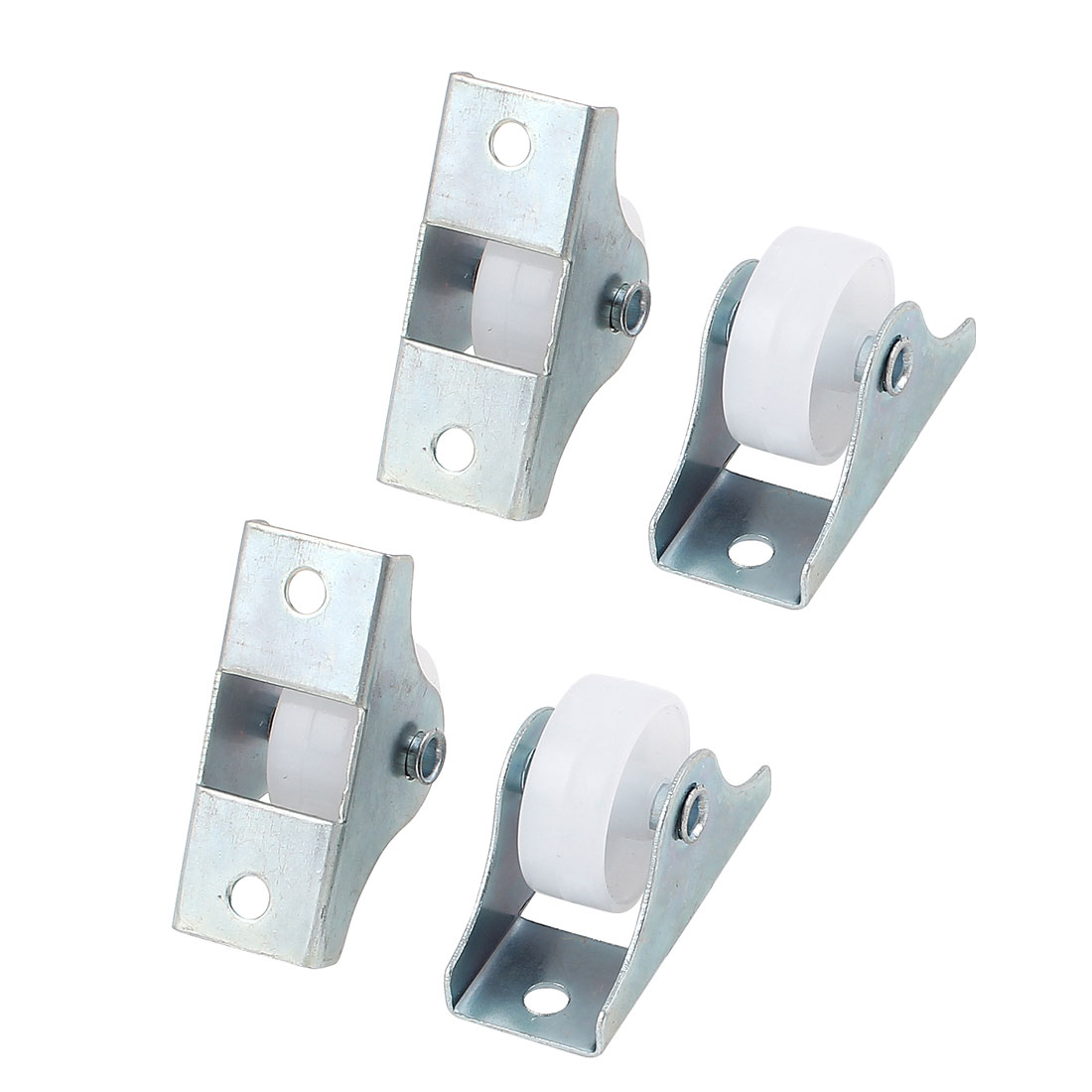 "4pcs Metal Rectangle Top Plate 25mm 1"" Dia Round Nylon Caster Wheels for Shopping Carts"