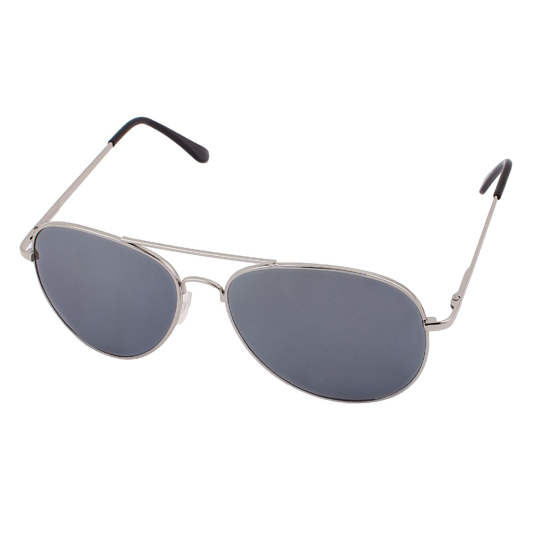 Man Retro Vintage Style Double Bridge Full Frame Silver Tone Mirror Reflective Waterdrop Lens Sunglasses Eyewear