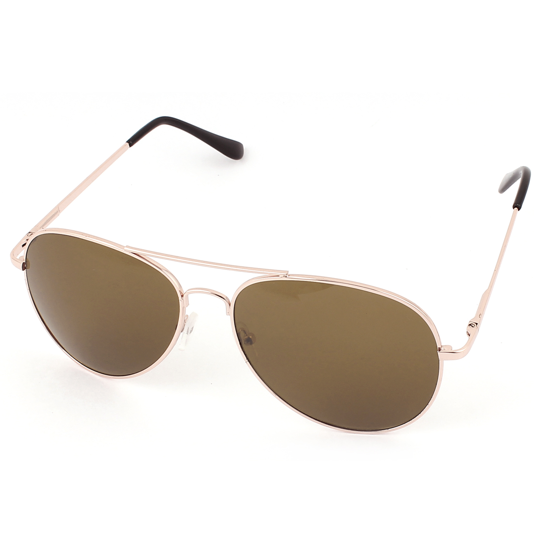 Men Outdoor Casual Double Bridge Gold Tone Metal Full Frame Brown Waterdrop Lens Sunglasses Eyewear Eye Protector Glasses