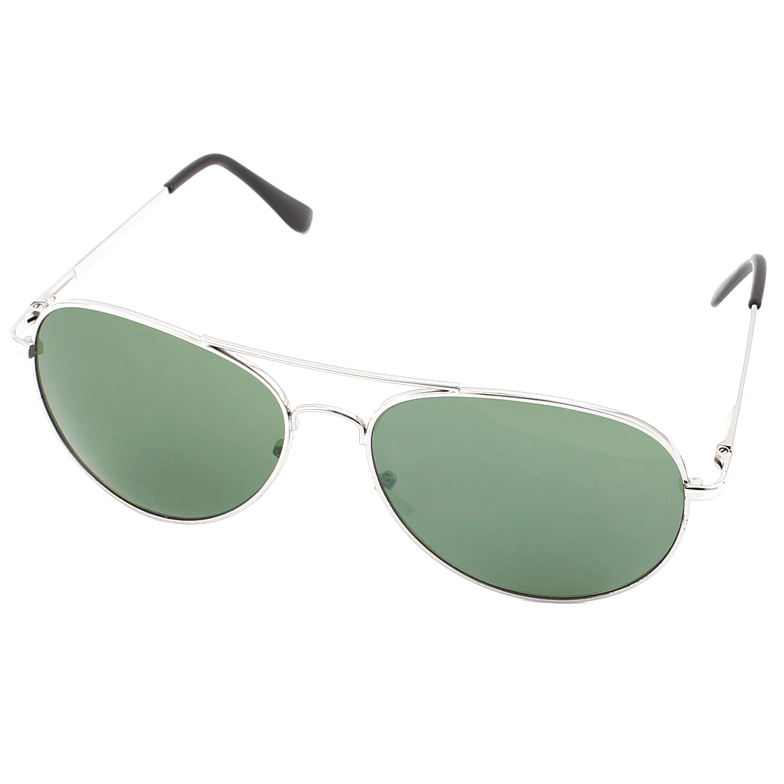 Men Outdoor Casual Double Bridge Silver Tone Metal Full Frame Dark Green Waterdrop Lens Sunglasses Eyewear Eye Protector Glasses