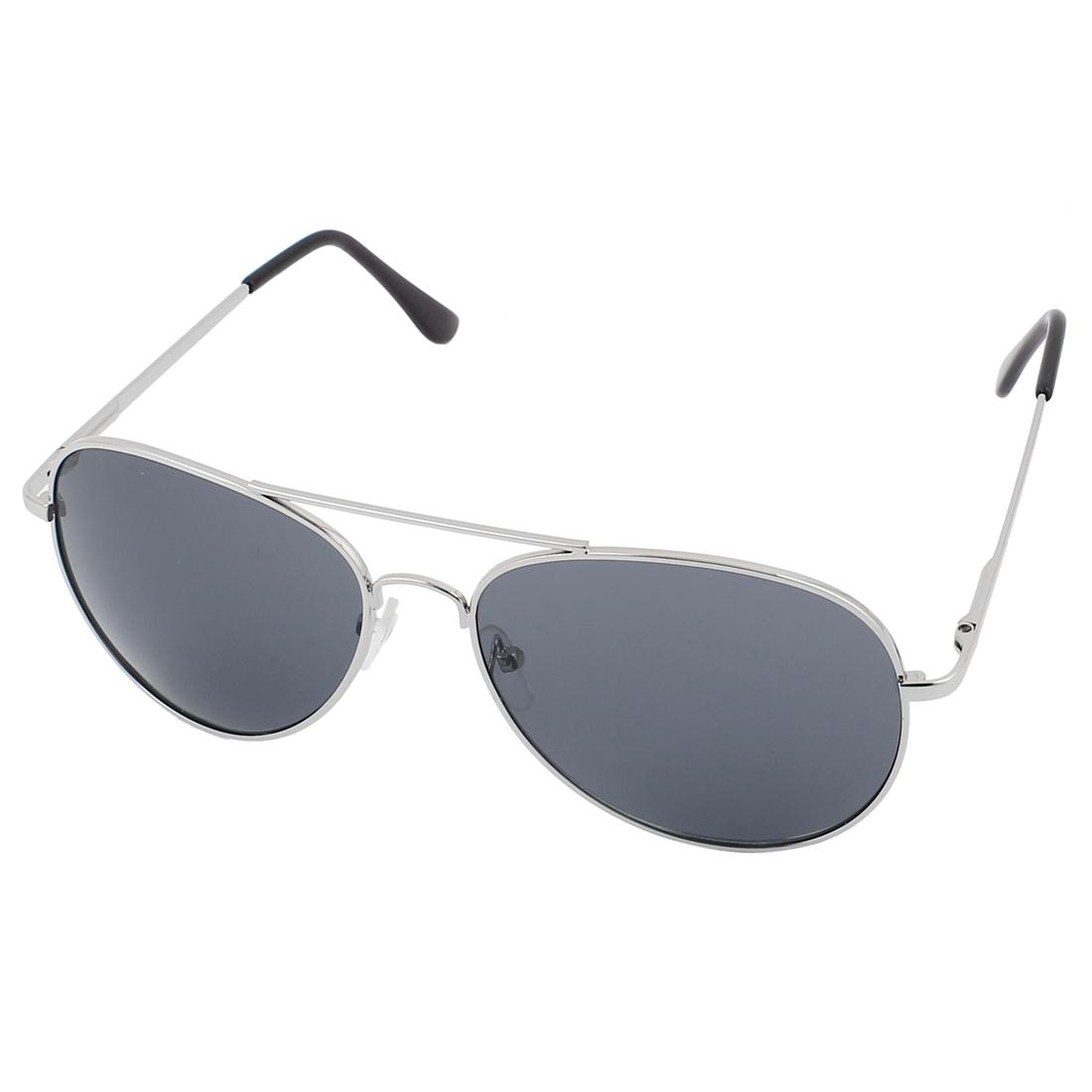 Men Outdoor Casual Double Bridge Silver Tone Metal Full Frame Dark Gray Waterdrop Lens Sunglasses Eyewear Eye Protector Glasses