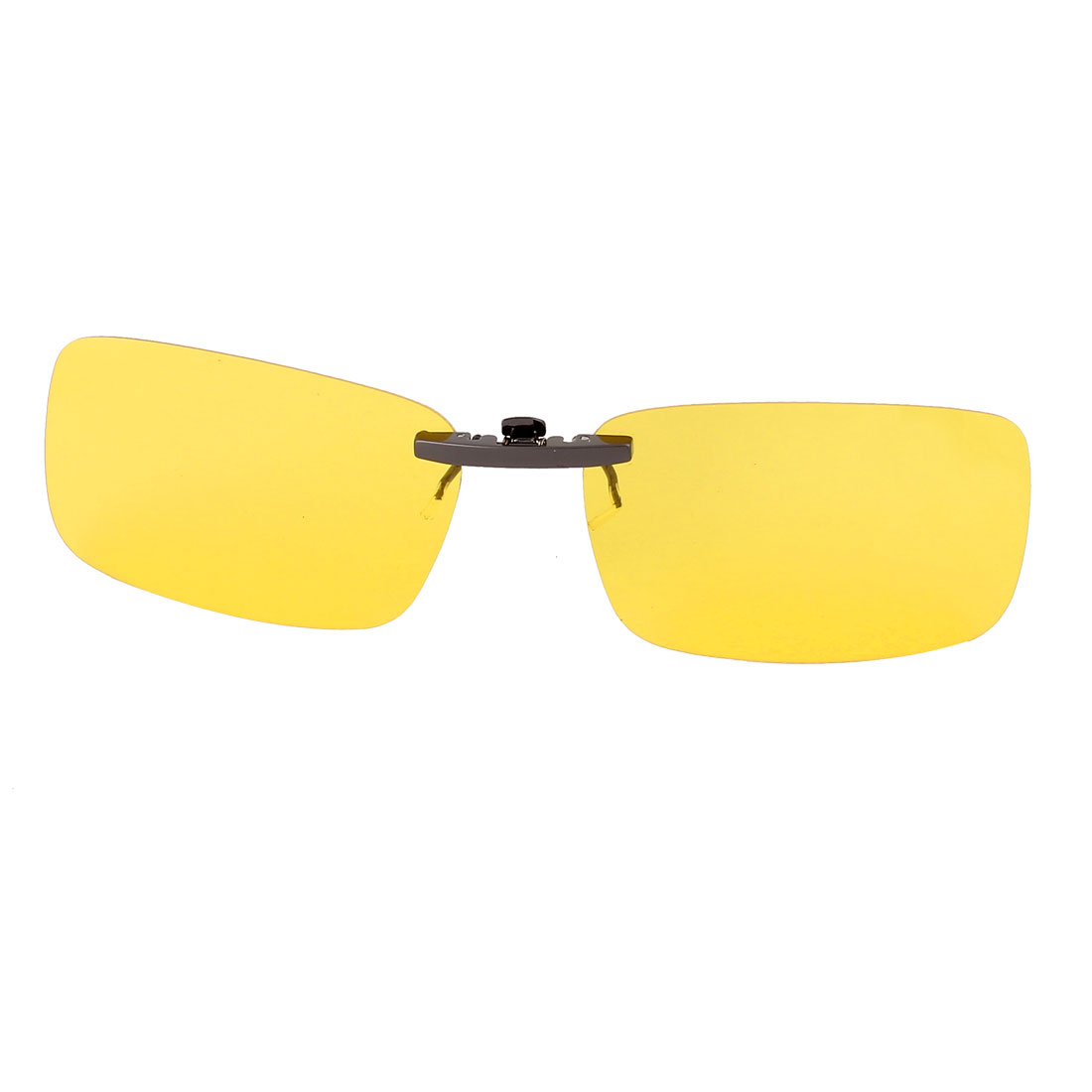 Unisex Hiking Travel Yellow Rectangle Lens Rimless Clip On Polarized Sunglasses Glasses Eyewear Protector