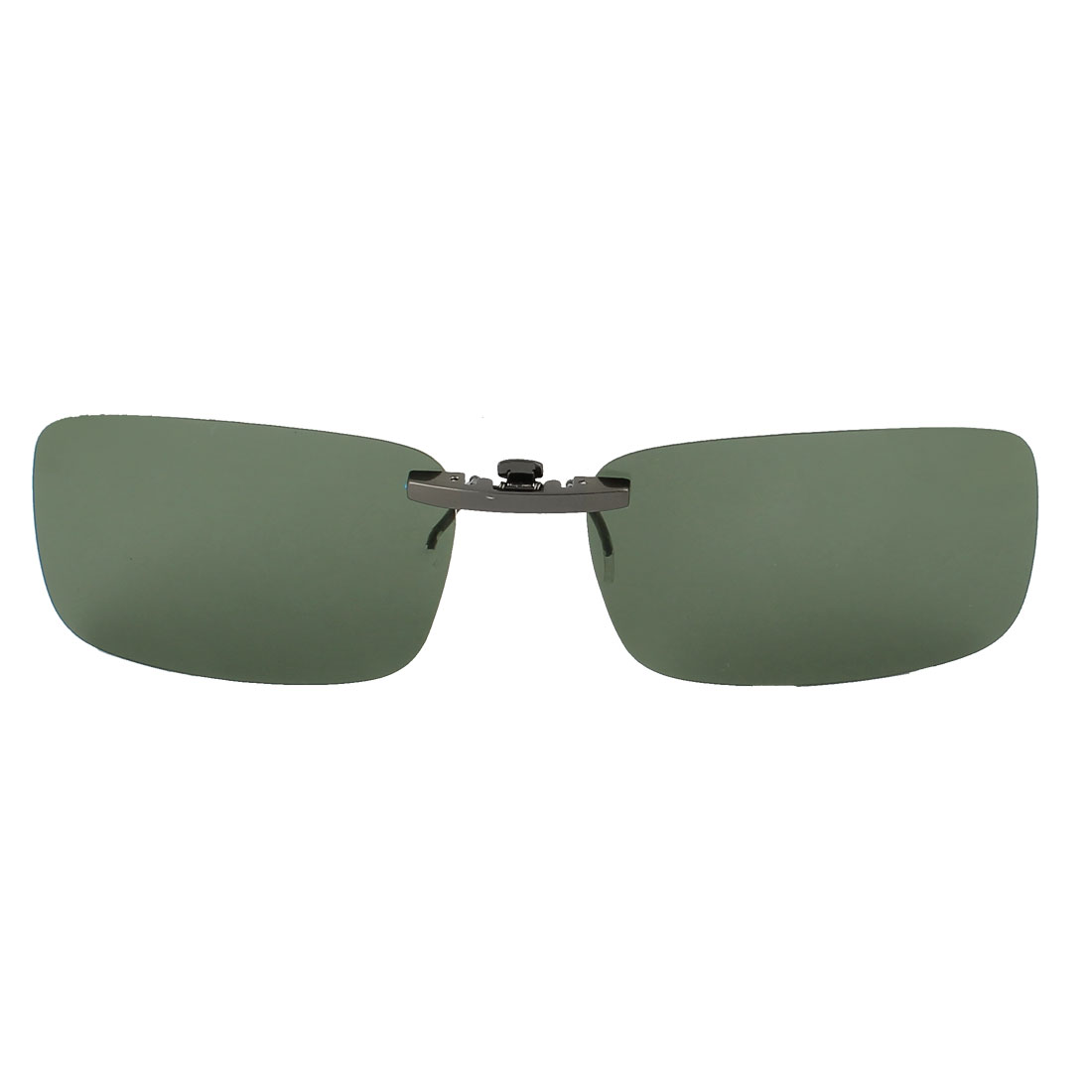 Unisex Hiking Travel Rectangle Dark Green Lens Rimless Clip On Polarized Sunglasses Glasses Eyewear Protector