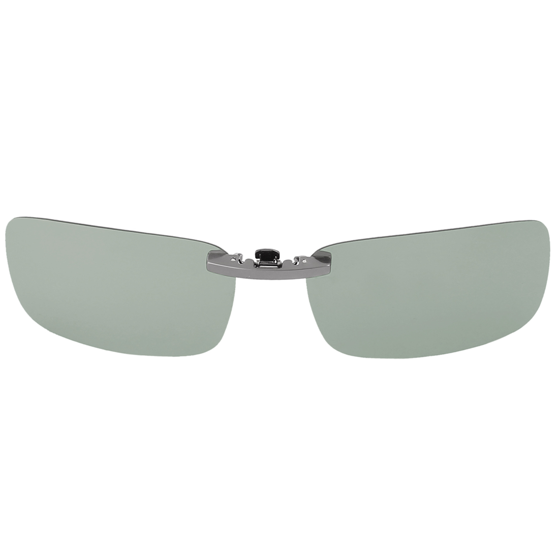 Unisex Outdoor Hiking Travel Gradient Silver Tone Lens Rimless Clip On Polarized Sunglasses Glasses Eyewear