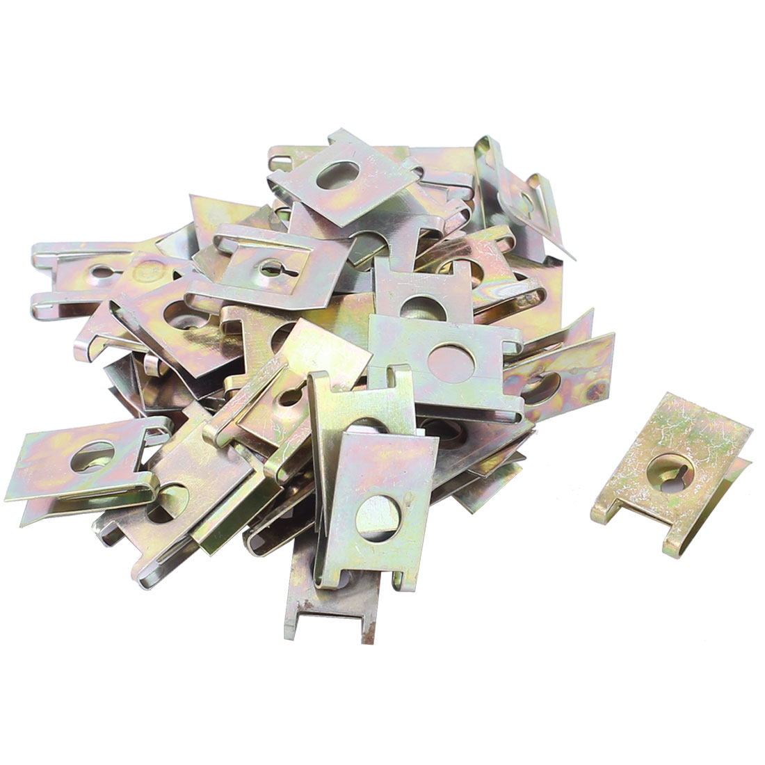 43Pcs 6mm Hole Diameter Bronze Tone Metal License Plate Screw Base Lock Clip Clamp