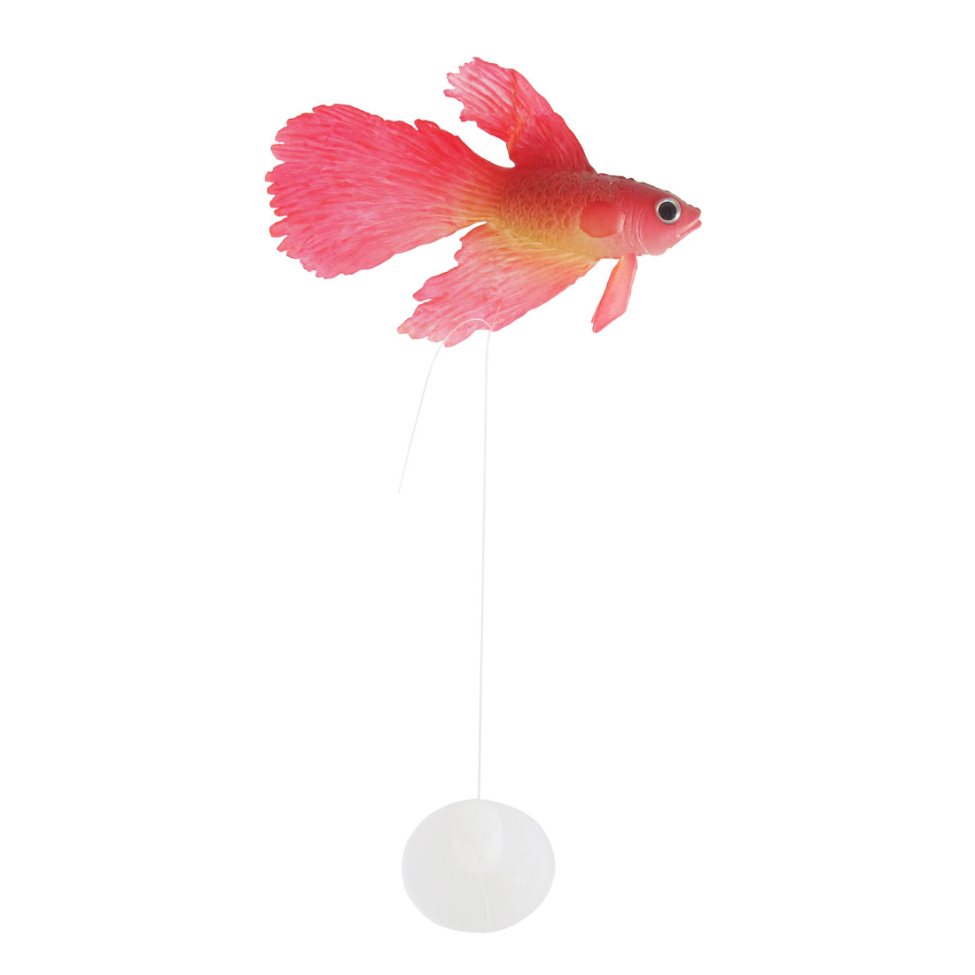 Fish Tank Aquarium Swing Tail Emulation Rubber Goldfish Ornament Red w Suction Cup