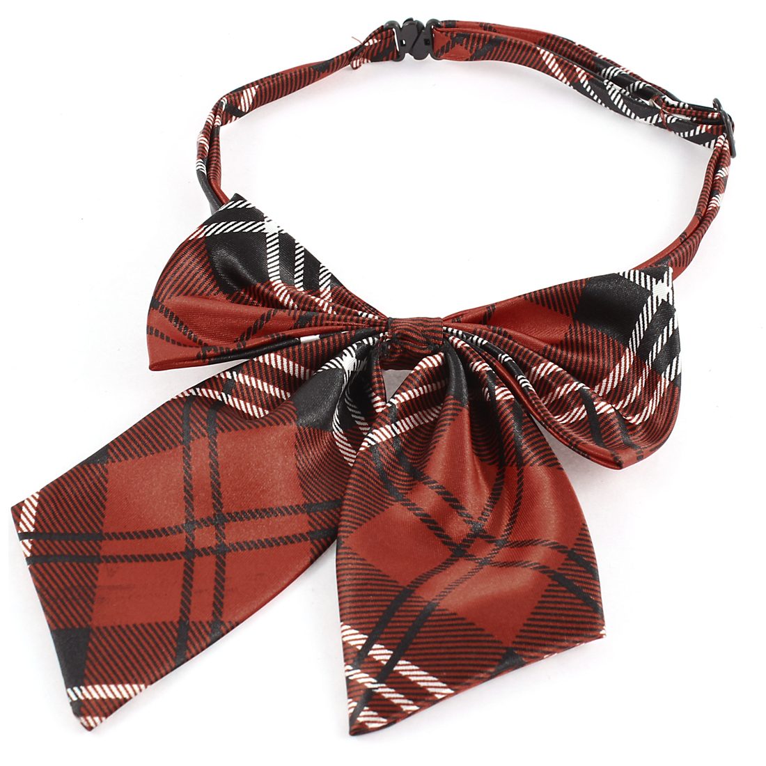 Black Red White Checked Print Pet Dog Adjustable Band Belt Plastic Buckle Grooming Necktie