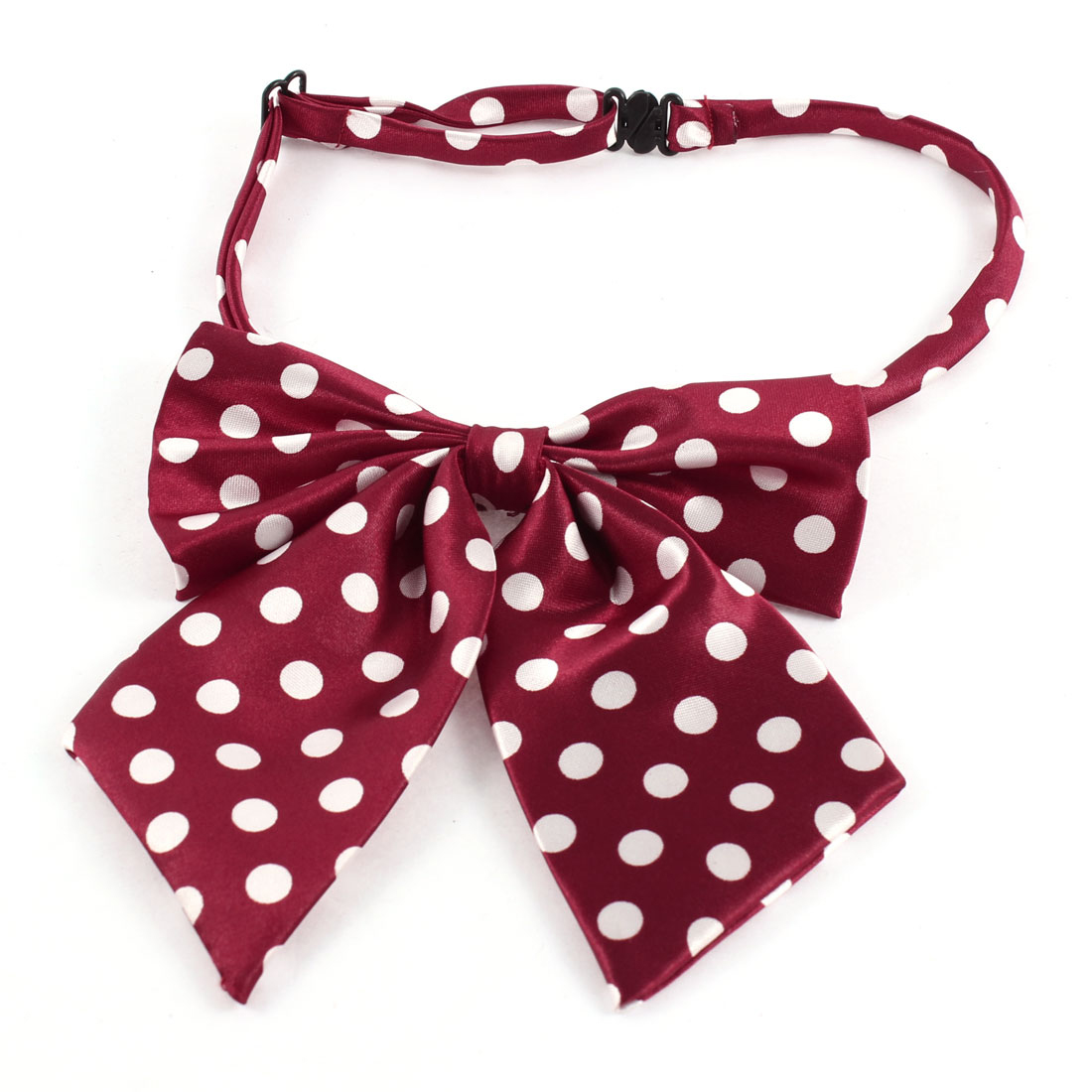 Double Layers White Dots Pattern Burgundy Pet Dog Puppy Cat Adjustable Band Necktie