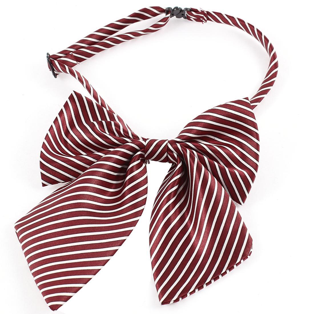 Carmine White Stripes Pattern Dog Pug Adjustable Band Belt Plastic Buckle Grooming Necktie Ornament
