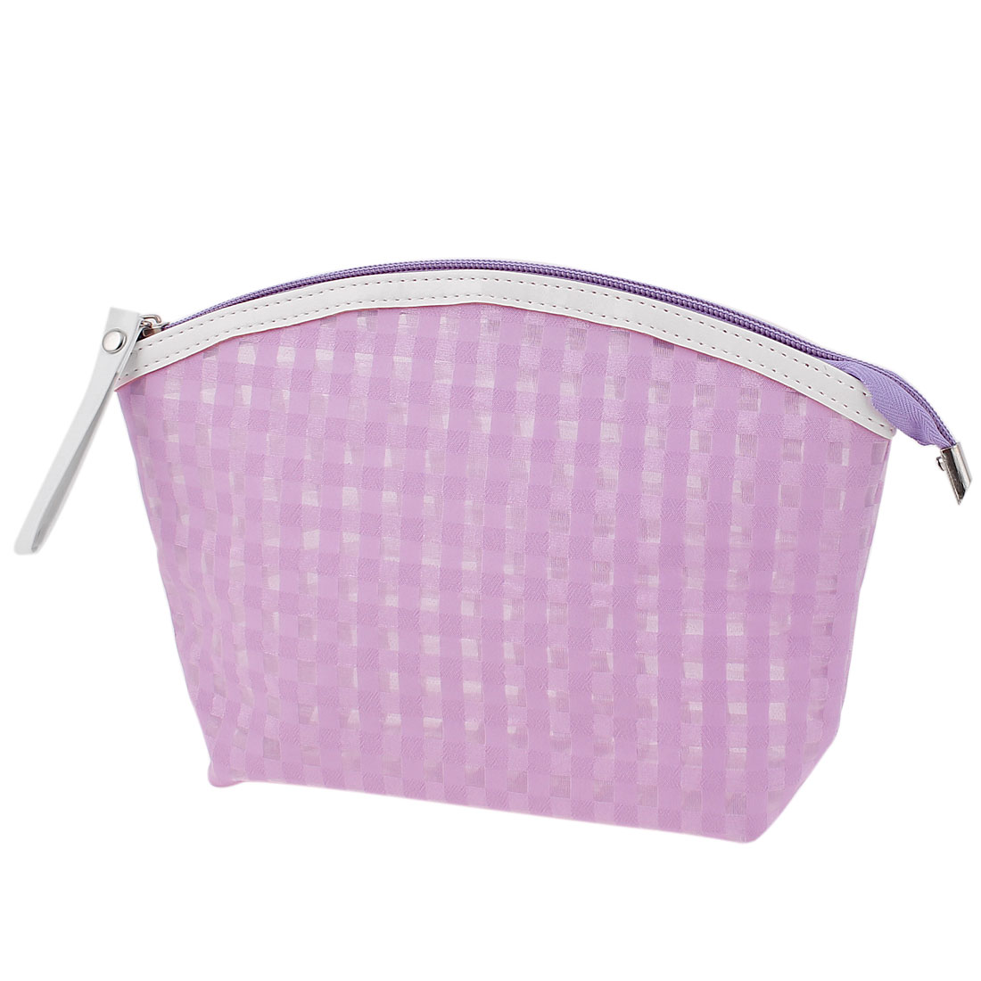 Travel Portable Zipper Closure Checks Pattern PVC Cosmetic Makeup Bag Toiletries Key Change Card Holder Lavender for Lady