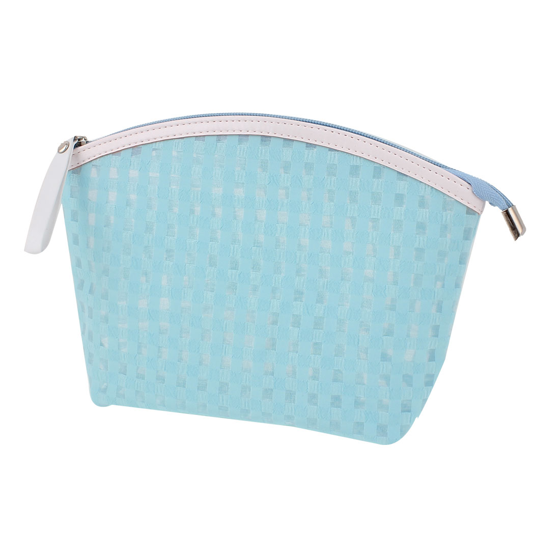 Travel Portable Zippered Plaids Print PVC Cosmetic Makeup Bag Toiletries Sundries Holder Sky Blue for Lady