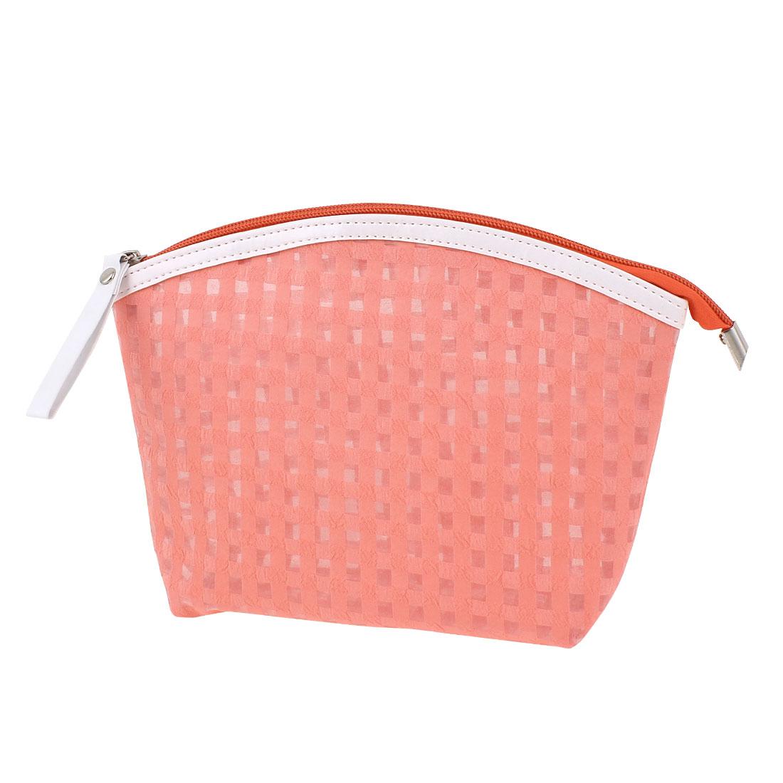 Travel Portable Zip Up Checks Pattern PVC Cosmetic Makeup Bag Toiletries Sundries Holder Handbag Salmon Pink for Lady