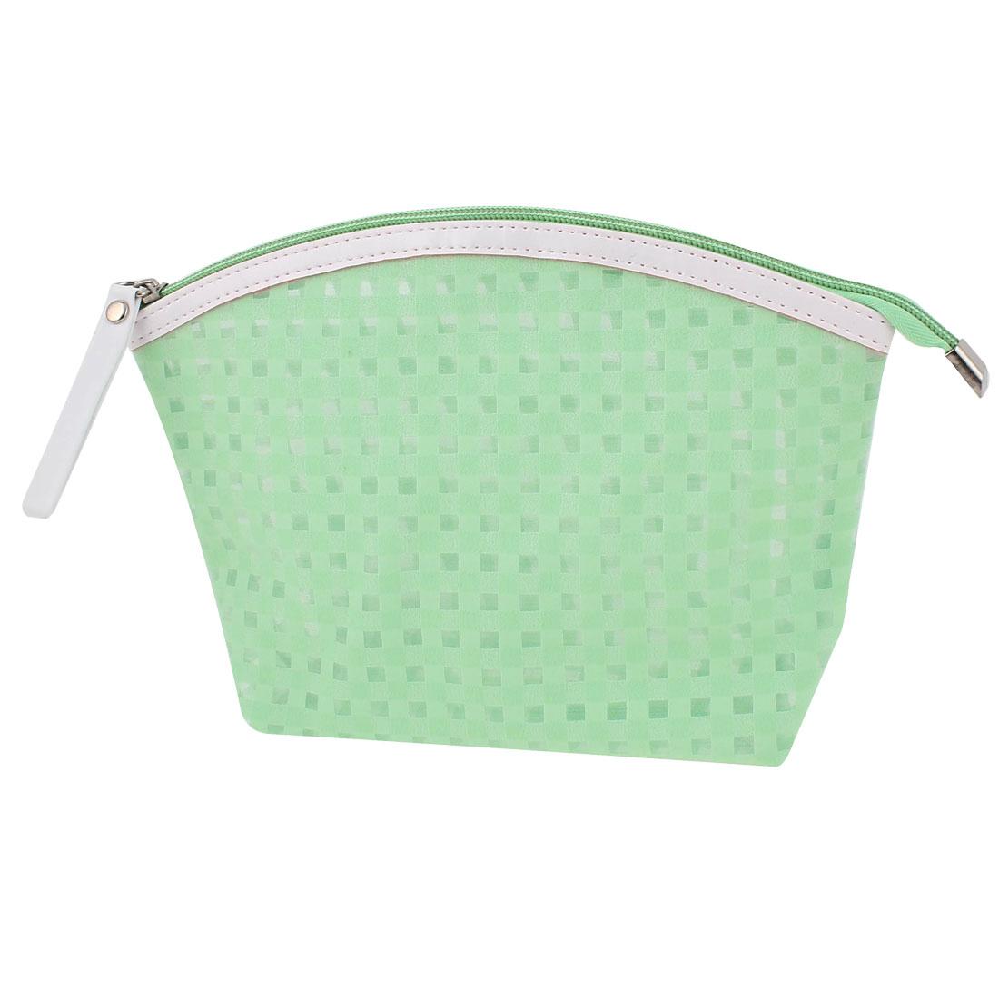 Women Travel Portable Zippered Plaids Pattern PVC Cosmetic Bag Makeup Handbag Toiletries Sundries Holder Green