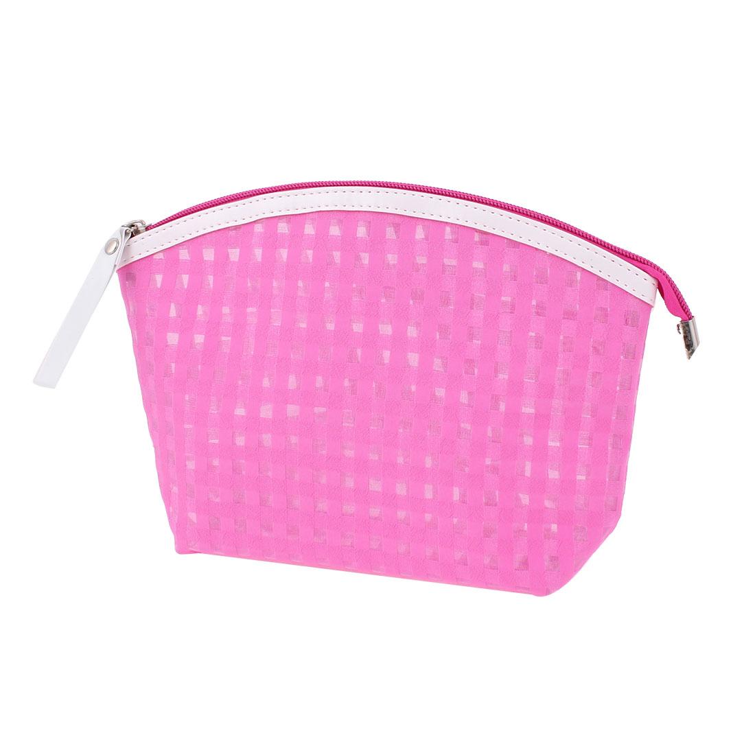 Woman Travel Portable Zipper Closure Plaids Pattern PVC Cosmetic Makeup Bag Toiletries Sundries Holder Fuchsia