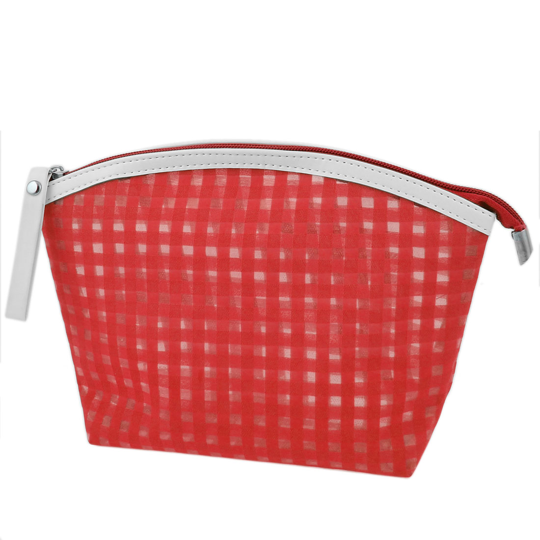 Lady Travel Portable Zipper Closure Plaids Pattern PVC Cosmetic Makeup Bag Key Change Card Holder Red