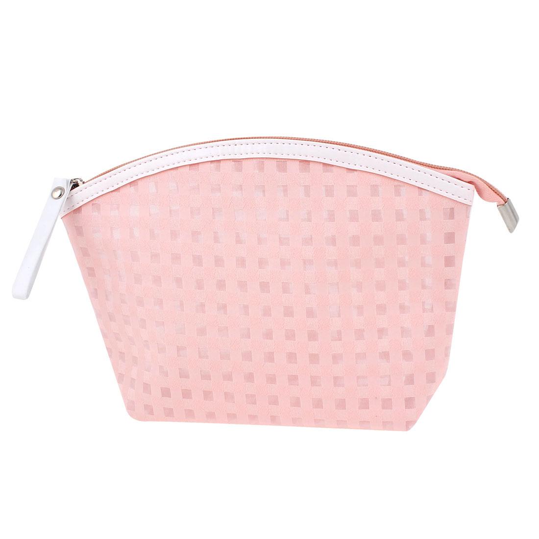 Travel Portable Zipper Closure Checks Pattern PVC Cosmetic Makeup Bag Key Change Handbag Toiletries Holder Pale Pink for Lady