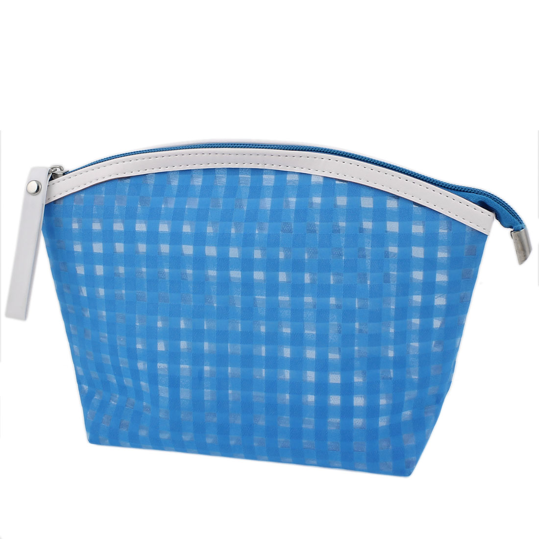 Woman Travel Portable Zipper Closure Plaids Pattern PVC Cosmetic Makeup Bag Toiletries Holder Blue