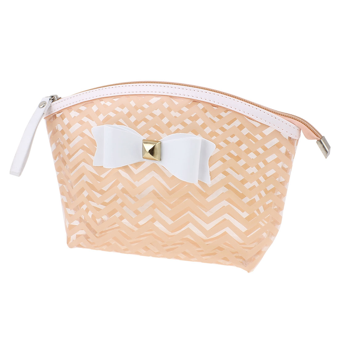 Lady Travel Portable Zippered Bowknot Decor Wave Line Pattern PVC Cosmetic Makeup Bag Toiletries Sundrise Holder Pale Pink
