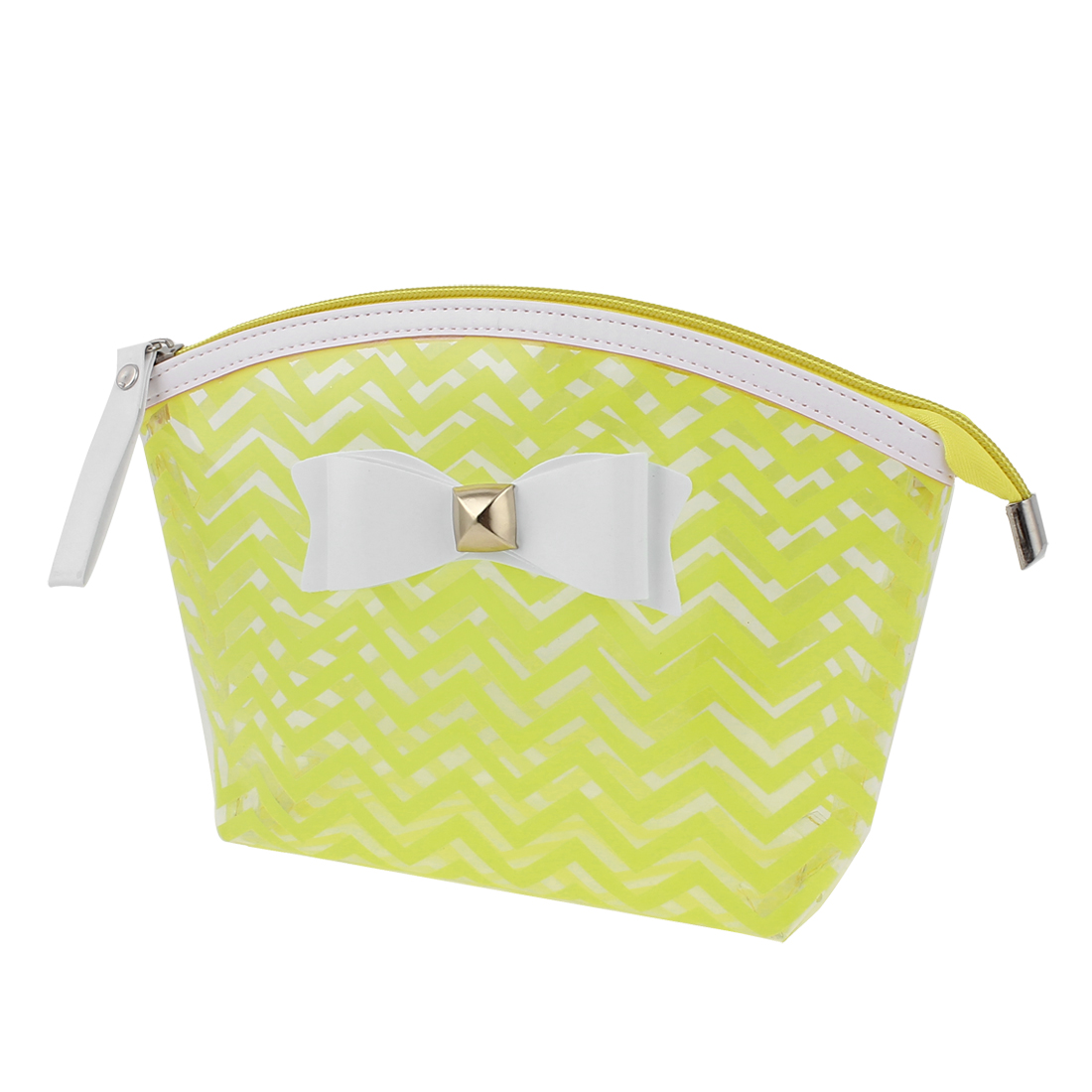Lady Travel Zip Up Bowknot Decor Wave Line Pattern PVC Cosmetic Makeup Bag Handbag Toiletries Sundrise Holder Yellow