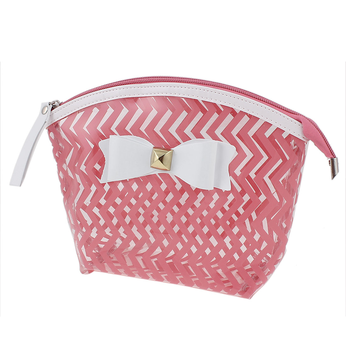 Travel Portable Zipper Closure Bowknot Decor Wave Line Pattern PVC Cosmetic Makeup Bag Toiletries Sundrise Holder Pink for Lady