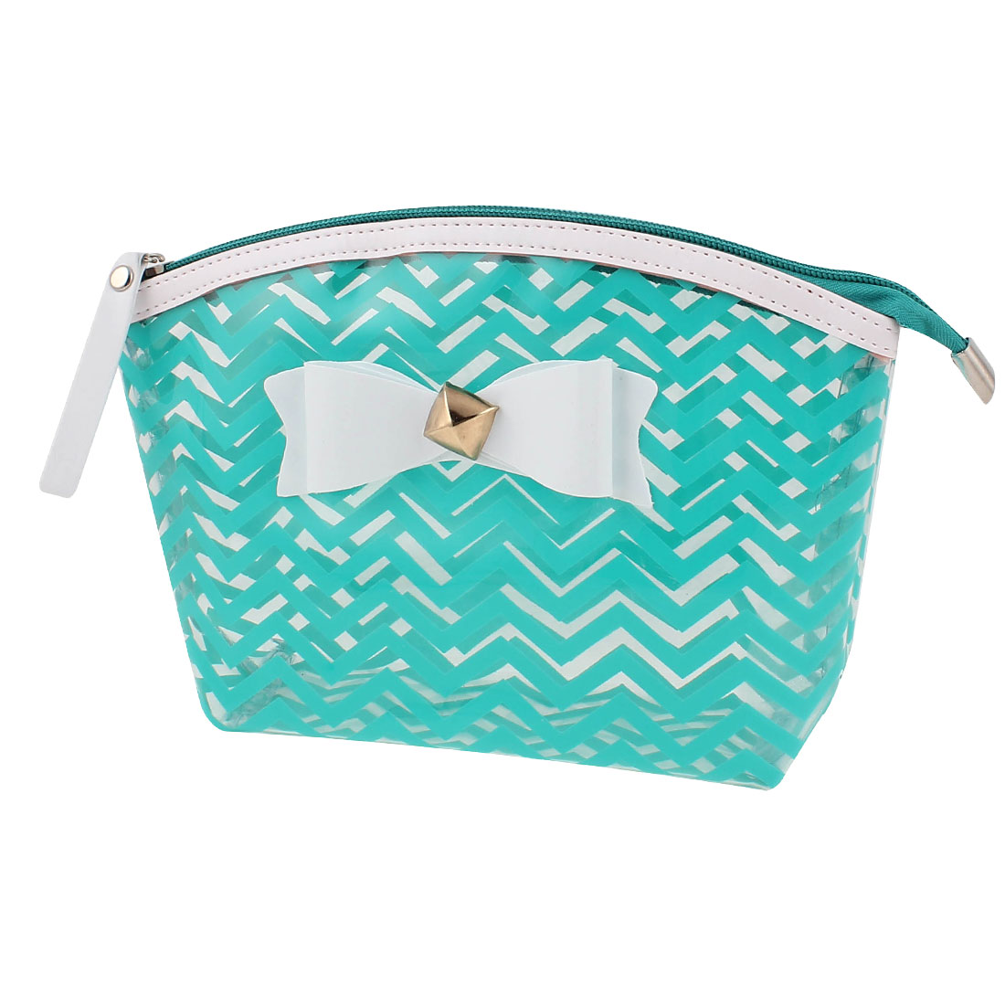 Woman Travel Portable Zipper Closure Bowknot Decor Green Wave Line Pattern PVC Cosmetic Makeup Bag Toiletries Sundrise Holder Organizer Handbag